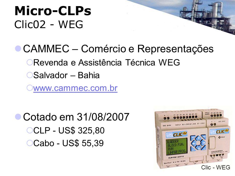 Micro-CLPs Clic02 - WEG CAMMEC – Comércio e Representações Revenda e Assistência Técnica WEG Salvador – Bahia www.cammec.com.br Cotado em 31/08/2007 C