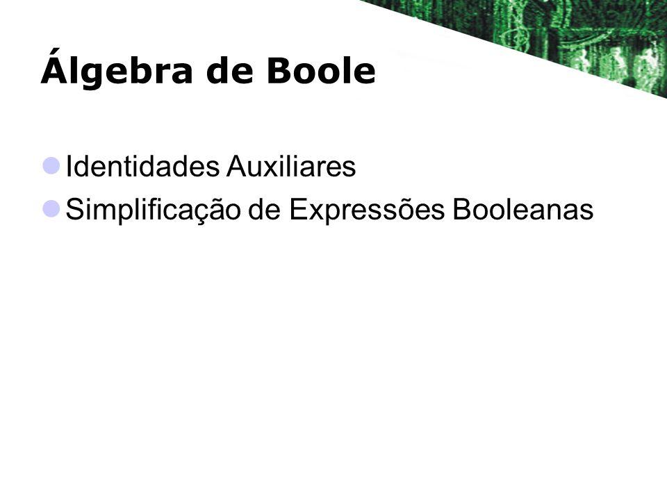 Álgebra de Boole Identidades Auxiliares Simplificação de Expressões Booleanas