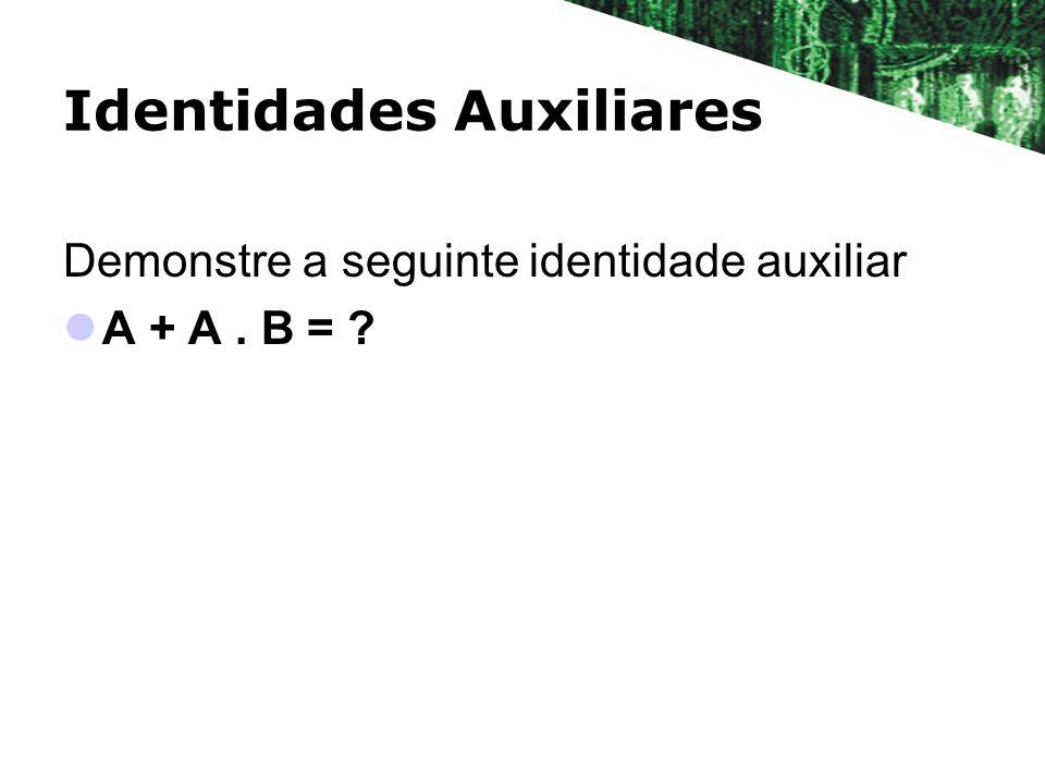 Identidades Auxiliares Demonstre a seguinte identidade auxiliar A + A. B = ?