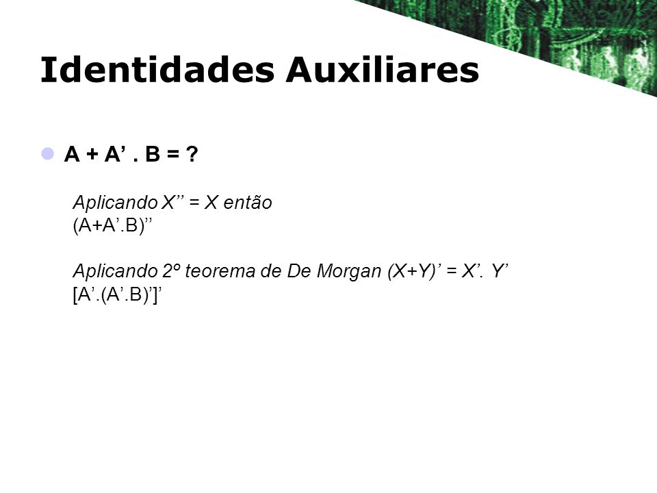 Identidades Auxiliares A + A. B = ? Aplicando X = X então (A+A.B) Aplicando 2º teorema de De Morgan (X+Y) = X. Y [A.(A.B)]