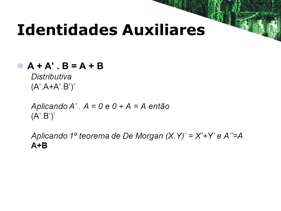 Identidades Auxiliares A + A.B = A + B Distributiva (A.A+A.B) Aplicando A.
