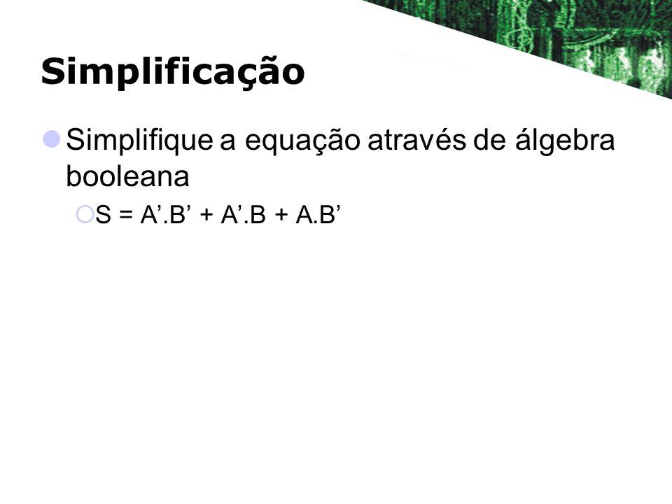 Simplificação Simplifique a equação através de álgebra booleana S = A.B + A.B + A.B