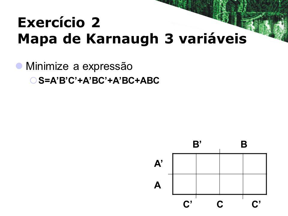 Exercício 2 Mapa de Karnaugh 3 variáveis Minimize a expressão S=ABC+ABC+ABC+ABC BB A A CCC