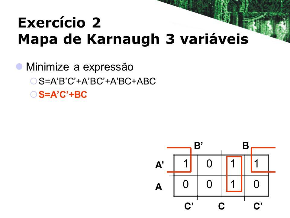 Exercício 2 Mapa de Karnaugh 3 variáveis Minimize a expressão S=ABC+ABC+ABC+ABC S=AC+BC BB A A 1011 0010 CCC