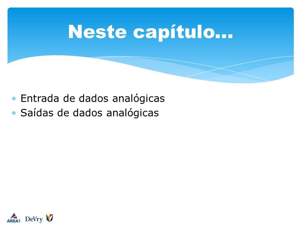 Entrada de dados analógicas Saídas de dados analógicas Neste capítulo...
