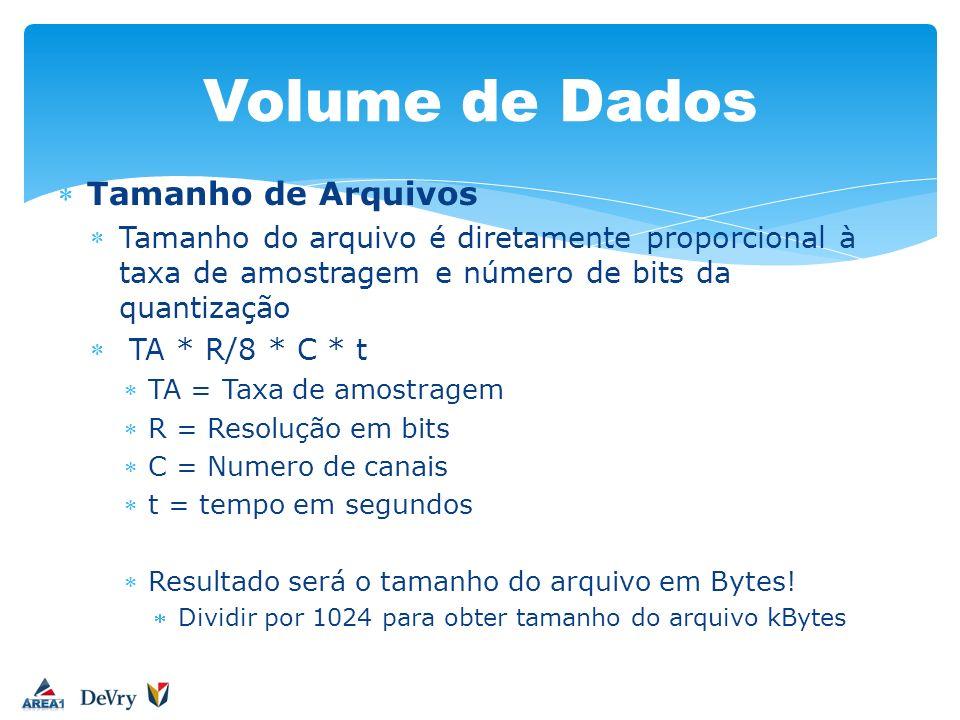 Volume de Dados Tamanho de Arquivos Tamanho do arquivo é diretamente proporcional à taxa de amostragem e número de bits da quantização TA * R/8 * C *