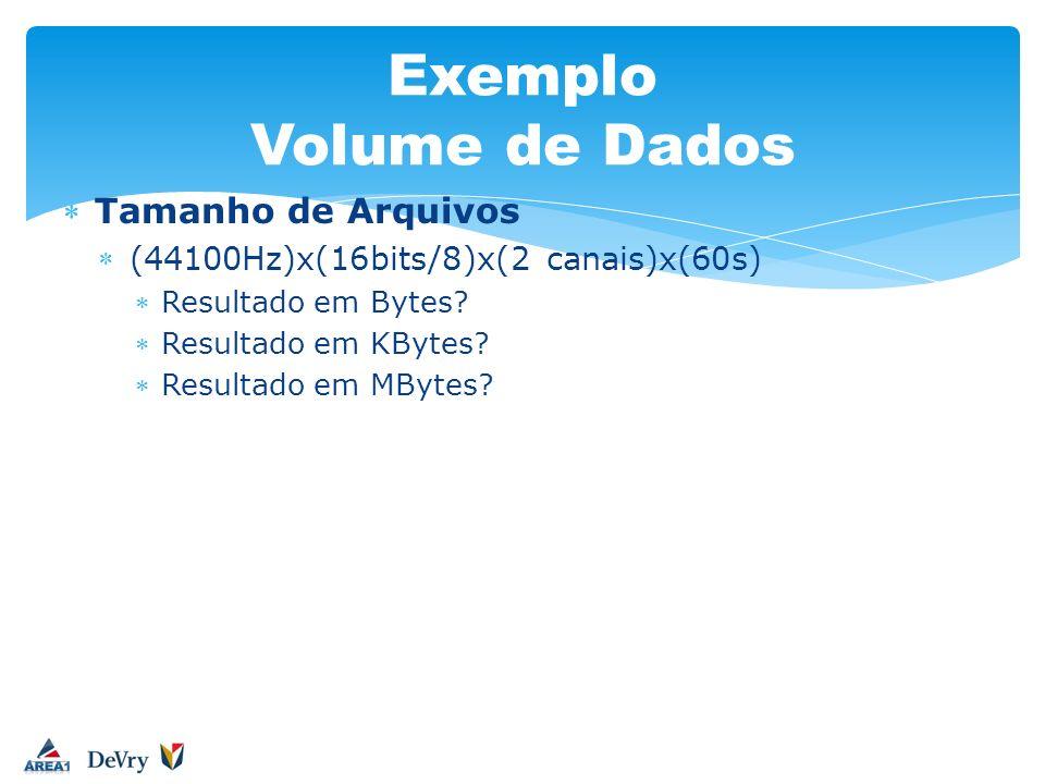 Exemplo Volume de Dados Tamanho de Arquivos (44100Hz)x(16bits/8)x(2 canais)x(60s) Resultado em Bytes? Resultado em KBytes? Resultado em MBytes?