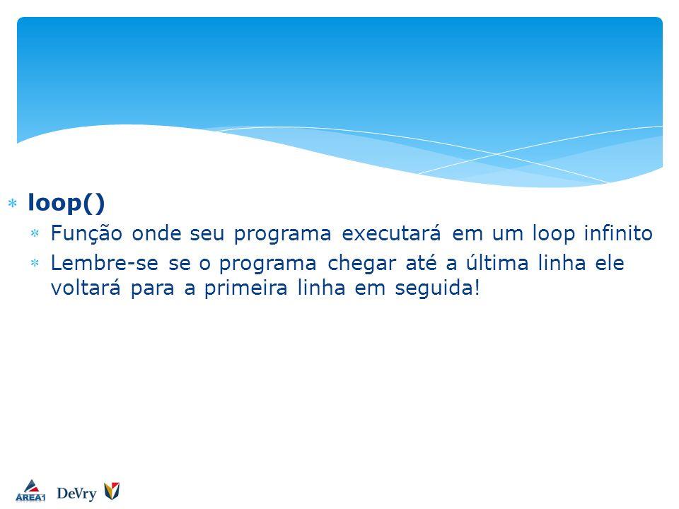 loop() Função onde seu programa executará em um loop infinito Lembre-se se o programa chegar até a última linha ele voltará para a primeira linha em s