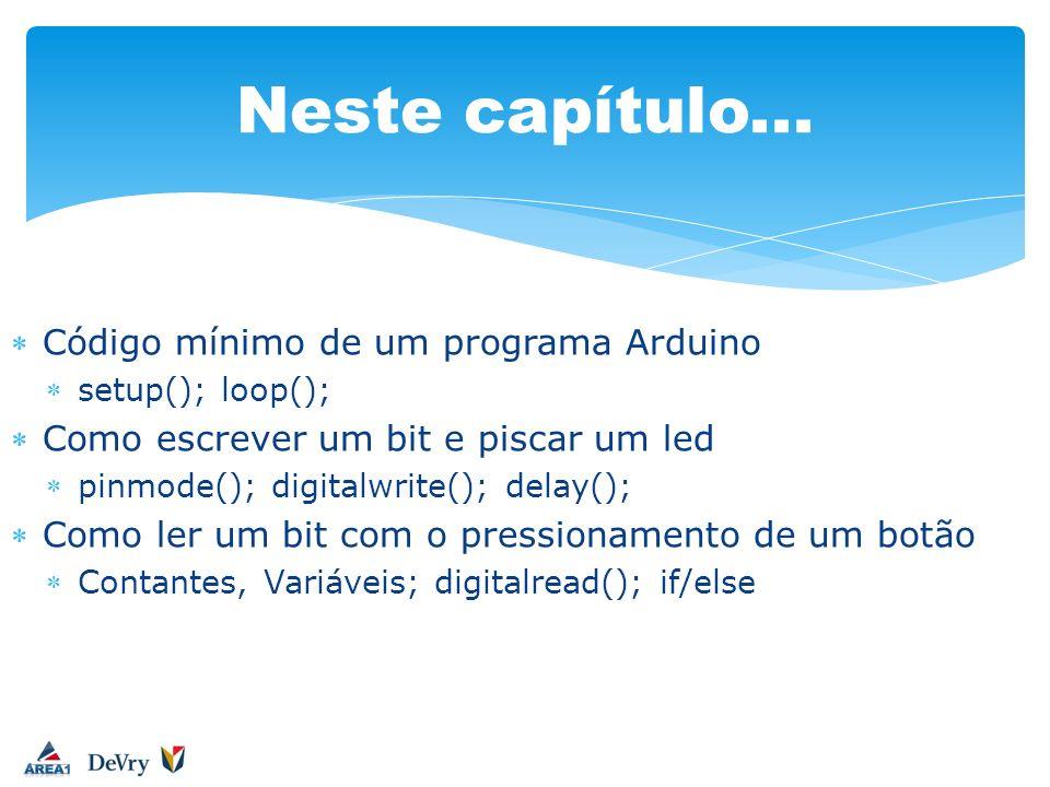 Código mínimo de um programa Arduino setup(); loop(); Como escrever um bit e piscar um led pinmode(); digitalwrite(); delay(); Como ler um bit com o p