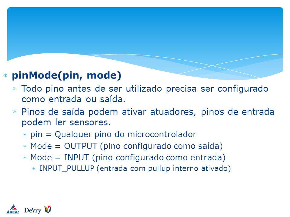 pinMode(pin, mode) Todo pino antes de ser utilizado precisa ser configurado como entrada ou saída. Pinos de saída podem ativar atuadores, pinos de ent