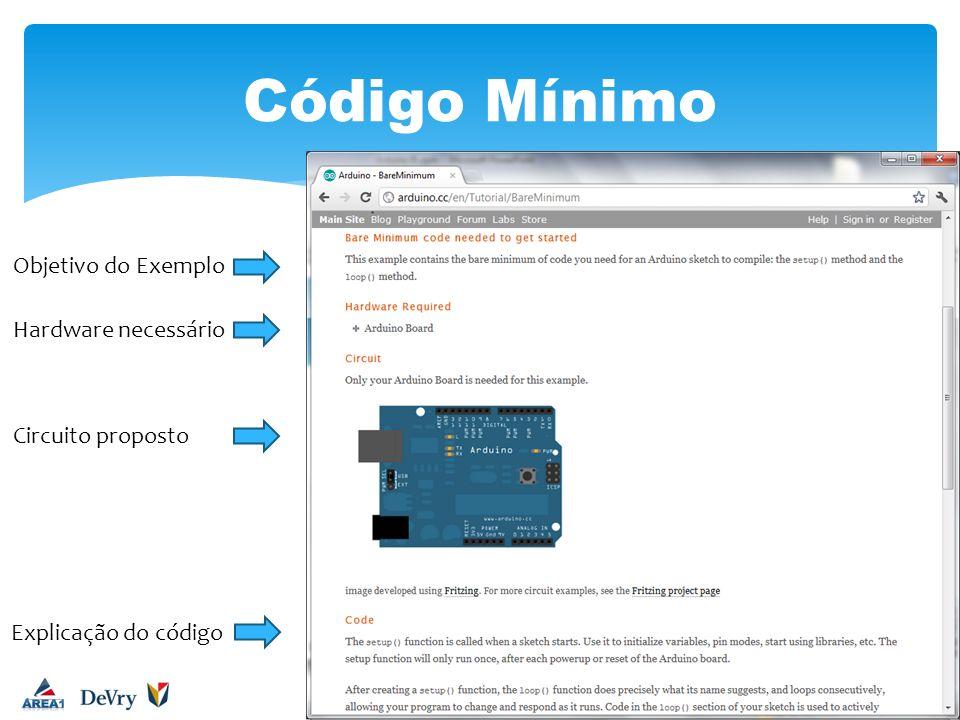 Objetivo do Exemplo Hardware necessário Circuito proposto Explicação do código
