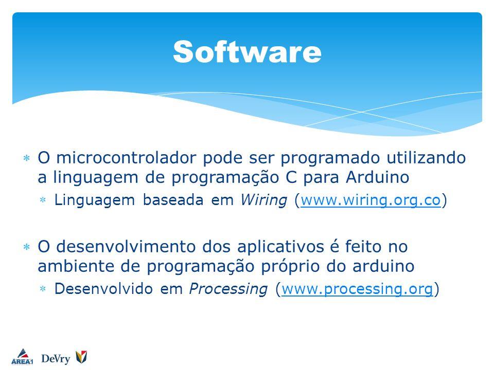 O microcontrolador pode ser programado utilizando a linguagem de programação C para Arduino Linguagem baseada em Wiring (www.wiring.org.co)www.wiring.