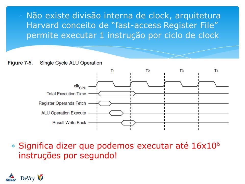 Não existe divisão interna de clock, arquitetura Harvard conceito de fast-access Register File permite executar 1 instrução por ciclo de clock Signifi