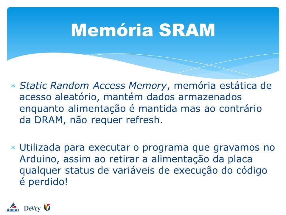 Static Random Access Memory, memória estática de acesso aleatório, mantém dados armazenados enquanto alimentação é mantida mas ao contrário da DRAM, n