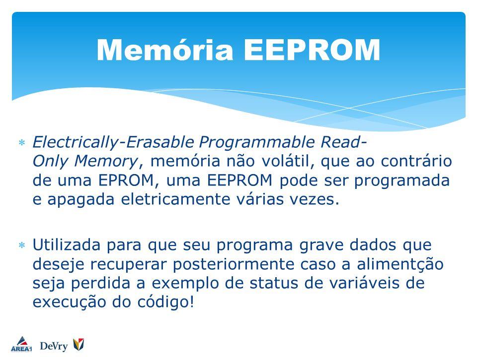 Electrically-Erasable Programmable Read- Only Memory, memória não volátil, que ao contrário de uma EPROM, uma EEPROM pode ser programada e apagada ele