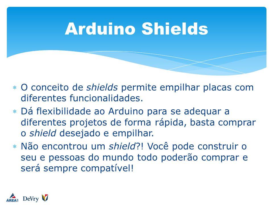 O conceito de shields permite empilhar placas com diferentes funcionalidades. Dá flexibilidade ao Arduino para se adequar a diferentes projetos de for