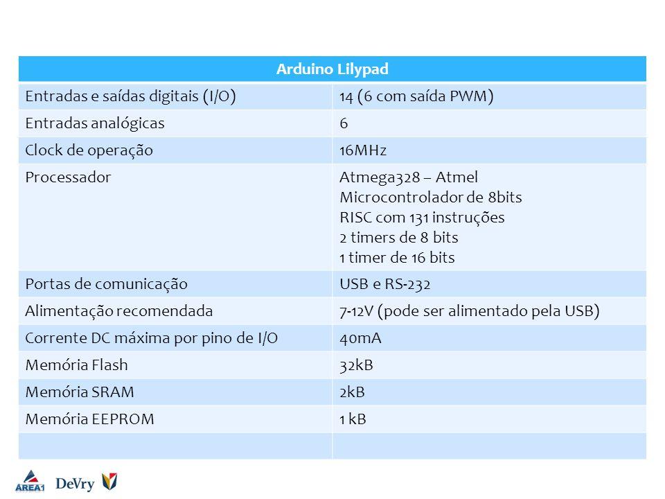 Arduino UNO Arduino Lilypad Entradas e saídas digitais (I/O)14 (6 com saída PWM) Entradas analógicas6 Clock de operação16MHz ProcessadorAtmega328 – At
