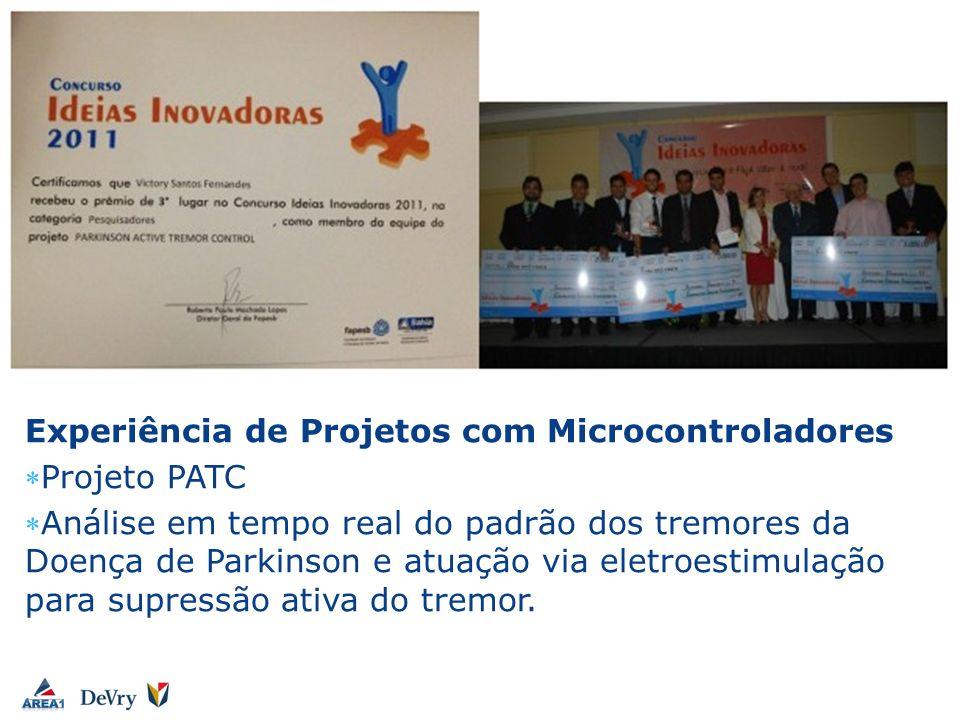 Victory Fernandes Experiência de Projetos com Microcontroladores Projeto PATC Análise em tempo real do padrão dos tremores da Doença de Parkinson e at