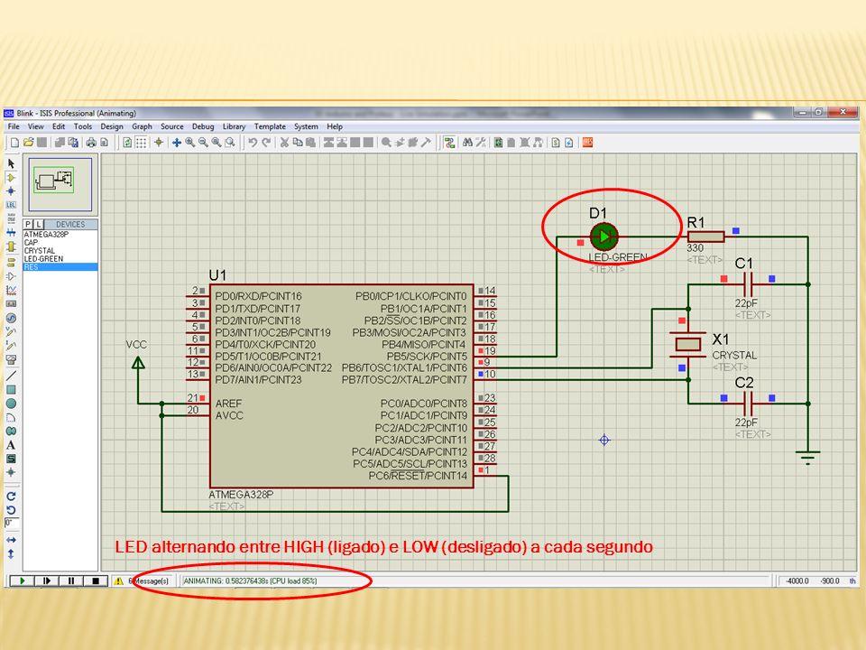 LED alternando entre HIGH (ligado) e LOW (desligado) a cada segundo