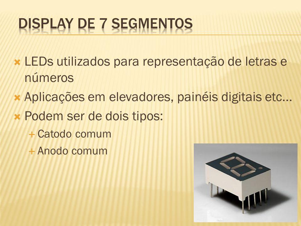 LEDs utilizados para representação de letras e números Aplicações em elevadores, painéis digitais etc... Podem ser de dois tipos: Catodo comum Anodo c
