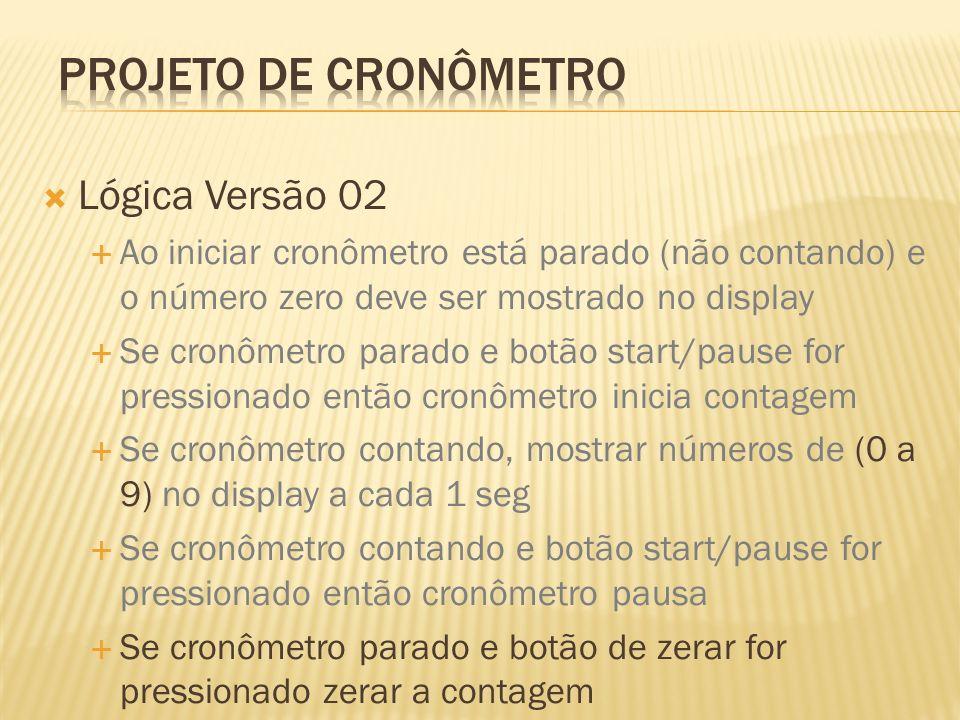 Lógica Versão 02 Ao iniciar cronômetro está parado (não contando) e o número zero deve ser mostrado no display Se cronômetro parado e botão start/paus