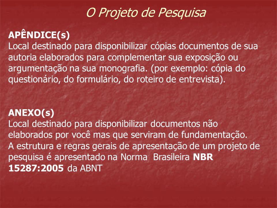 O Projeto de Pesquisa APÊNDICE(s) Local destinado para disponibilizar cópias documentos de sua autoria elaborados para complementar sua exposição ou a
