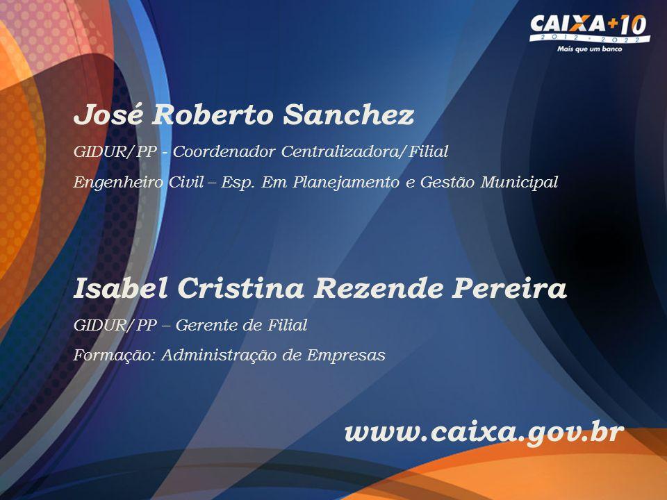José Roberto Sanchez GIDUR/PP - Coordenador Centralizadora/Filial Engenheiro Civil – Esp. Em Planejamento e Gestão Municipal Isabel Cristina Rezende P