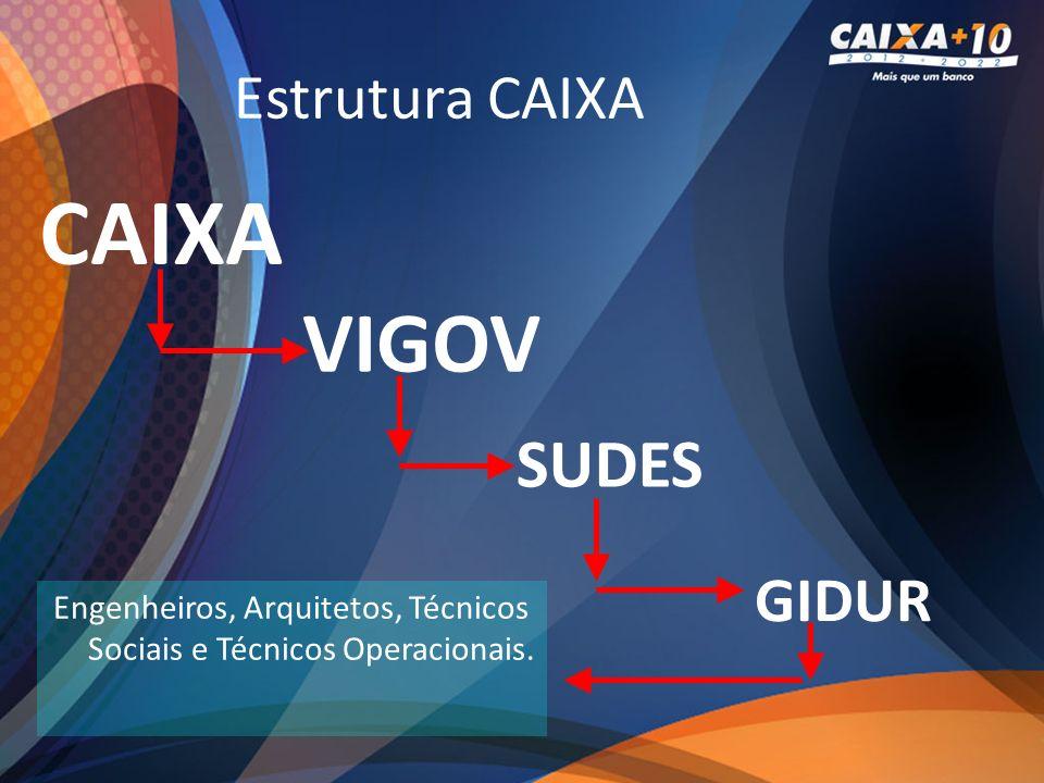 Estrutura CAIXA CAIXA VIGOV GIDUR SUDES Engenheiros, Arquitetos, Técnicos Sociais e Técnicos Operacionais.