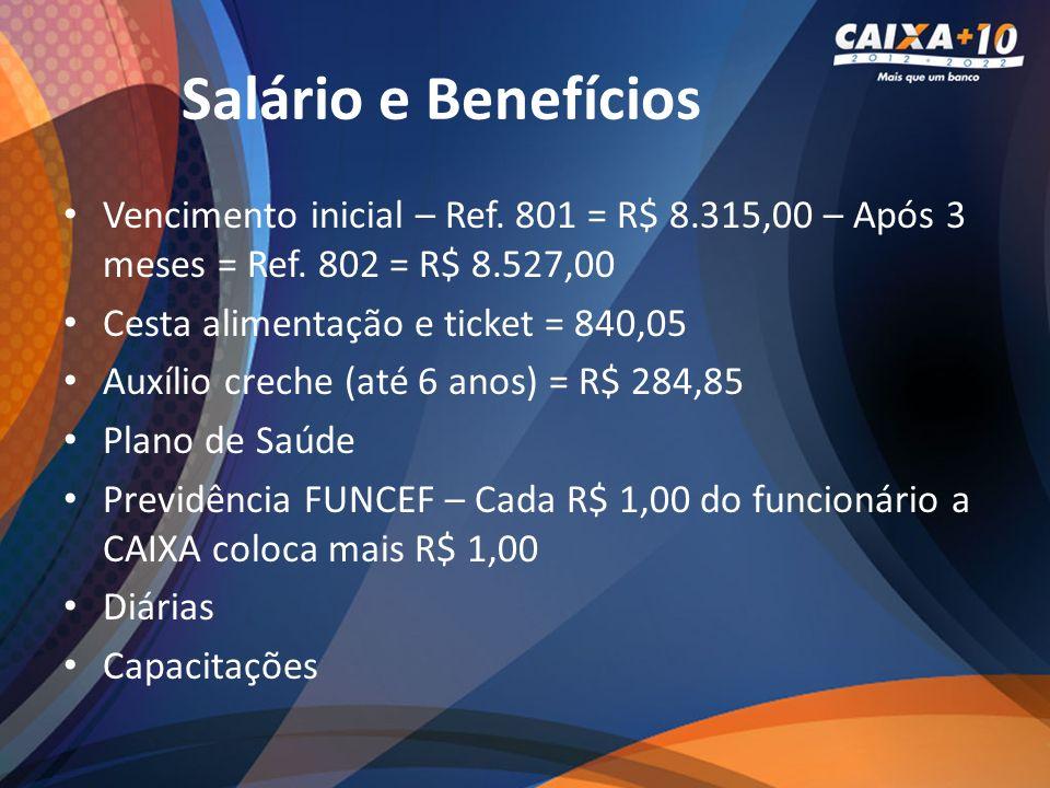 Salário e Benefícios Vencimento inicial – Ref. 801 = R$ 8.315,00 – Após 3 meses = Ref. 802 = R$ 8.527,00 Cesta alimentação e ticket = 840,05 Auxílio c