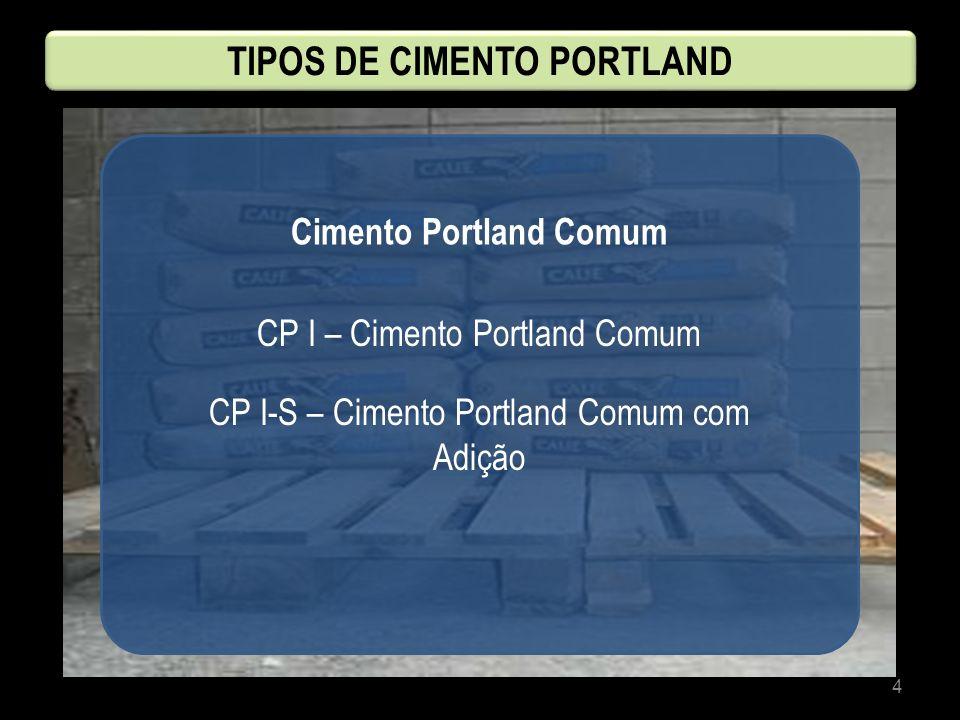 4 Cimento Portland Comum CP I – Cimento Portland Comum CP I-S – Cimento Portland Comum com Adição TIPOS DE CIMENTO PORTLAND