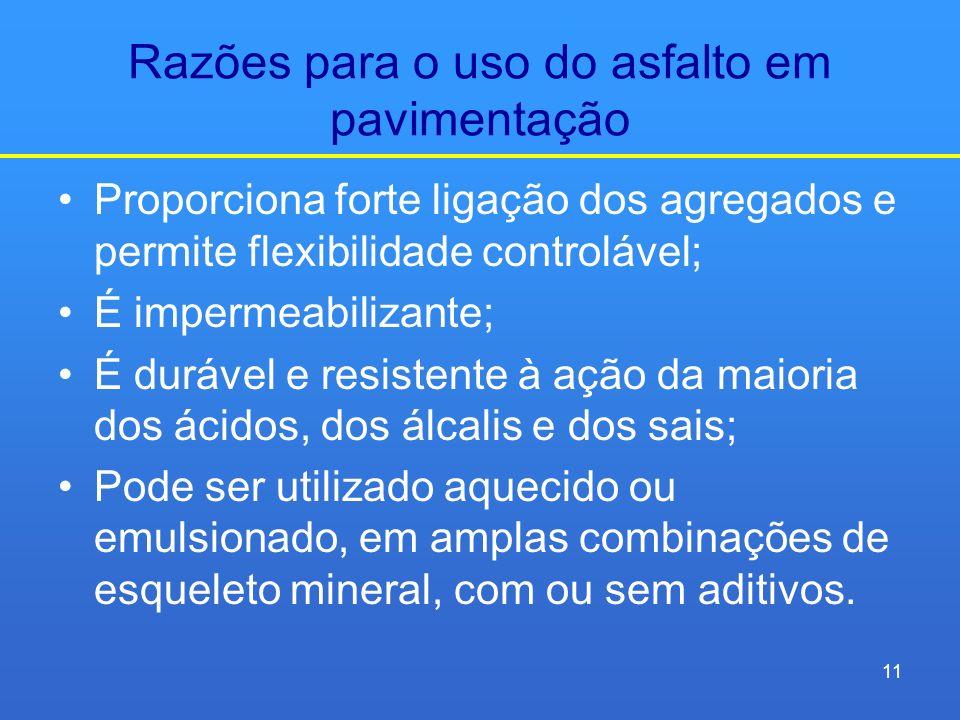 Razões para o uso do asfalto em pavimentação Proporciona forte ligação dos agregados e permite flexibilidade controlável; É impermeabilizante; É duráv