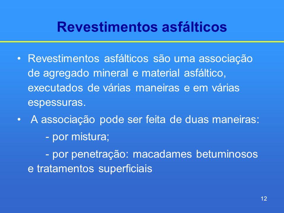 Revestimentos asfálticos Revestimentos asfálticos são uma associação de agregado mineral e material asfáltico, executados de várias maneiras e em vári