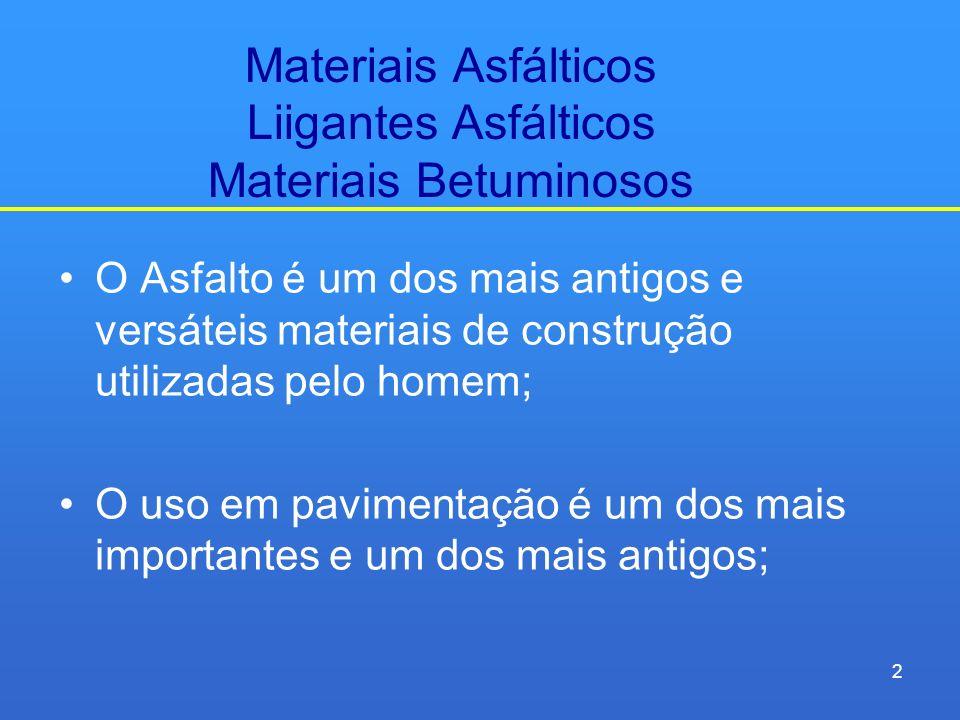 Materiais Asfálticos Liigantes Asfálticos Materiais Betuminosos O Asfalto é um dos mais antigos e versáteis materiais de construção utilizadas pelo ho