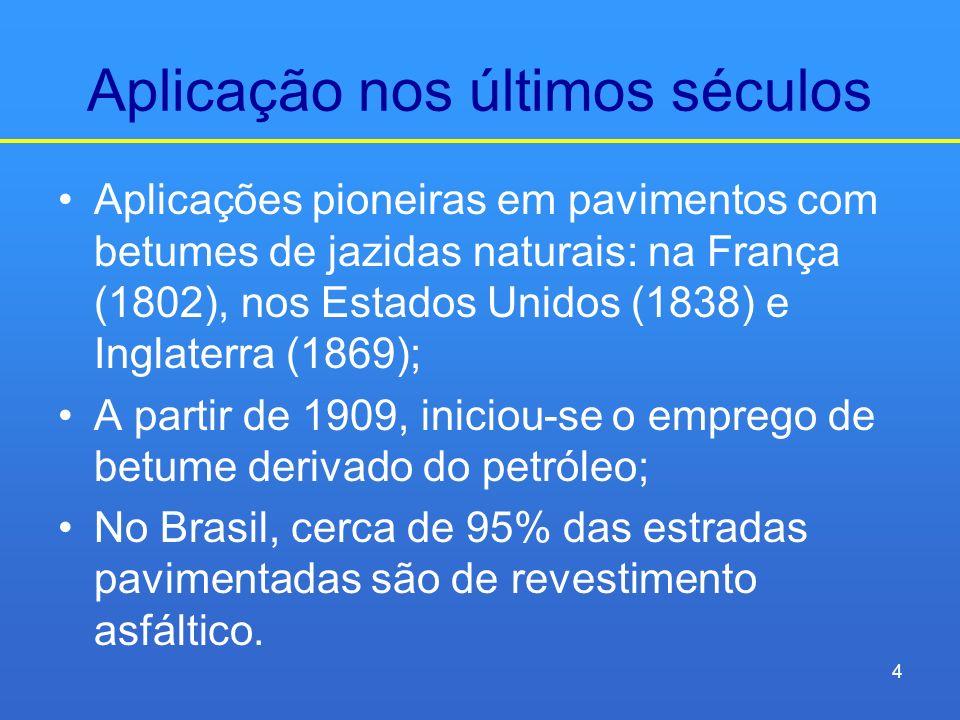 Aplicação nos últimos séculos Aplicações pioneiras em pavimentos com betumes de jazidas naturais: na França (1802), nos Estados Unidos (1838) e Inglat