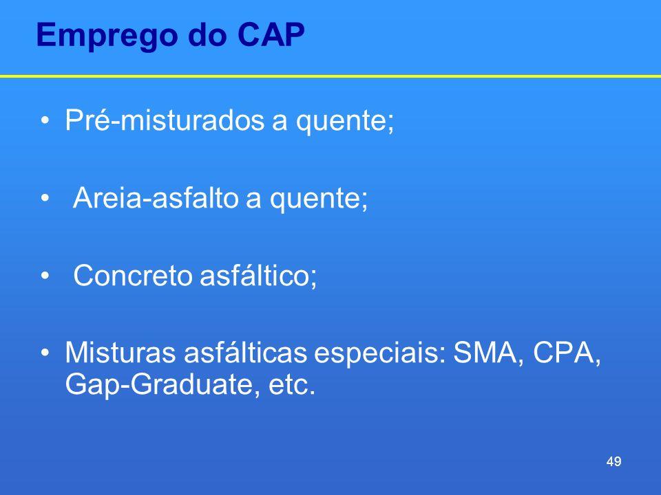 Emprego do CAP Pré-misturados a quente; Areia-asfalto a quente; Concreto asfáltico; Misturas asfálticas especiais: SMA, CPA, Gap-Graduate, etc. 49