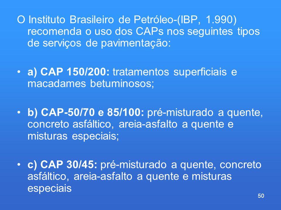 O Instituto Brasileiro de Petróleo-(IBP, 1.990) recomenda o uso dos CAPs nos seguintes tipos de serviços de pavimentação: a) CAP 150/200: tratamentos