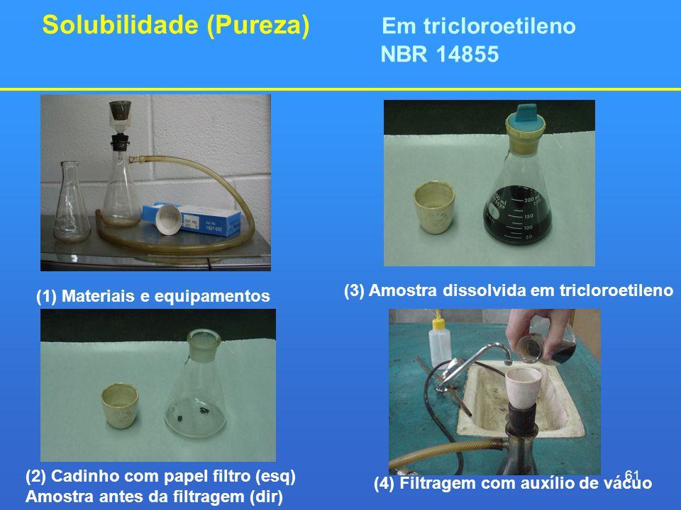 Solubilidade (Pureza) Em tricloroetileno NBR 14855 (1) Materiais e equipamentos (2) Cadinho com papel filtro (esq) Amostra antes da filtragem (dir) (3