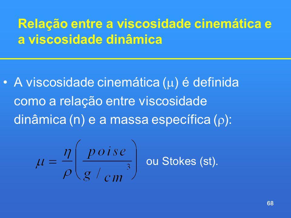 Relação entre a viscosidade cinemática e a viscosidade dinâmica A viscosidade cinemática ( ) é definida como a relação entre viscosidade dinâmica (n)