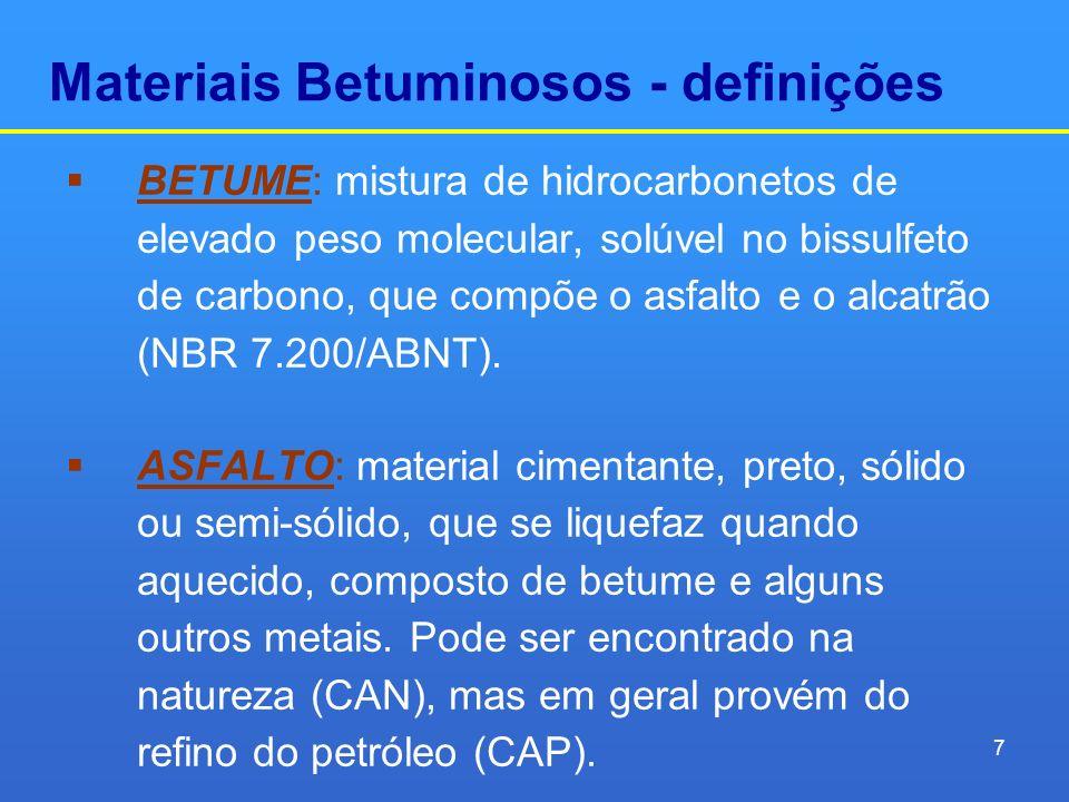 Materiais Betuminosos - definições BETUME: mistura de hidrocarbonetos de elevado peso molecular, solúvel no bissulfeto de carbono, que compõe o asfalt