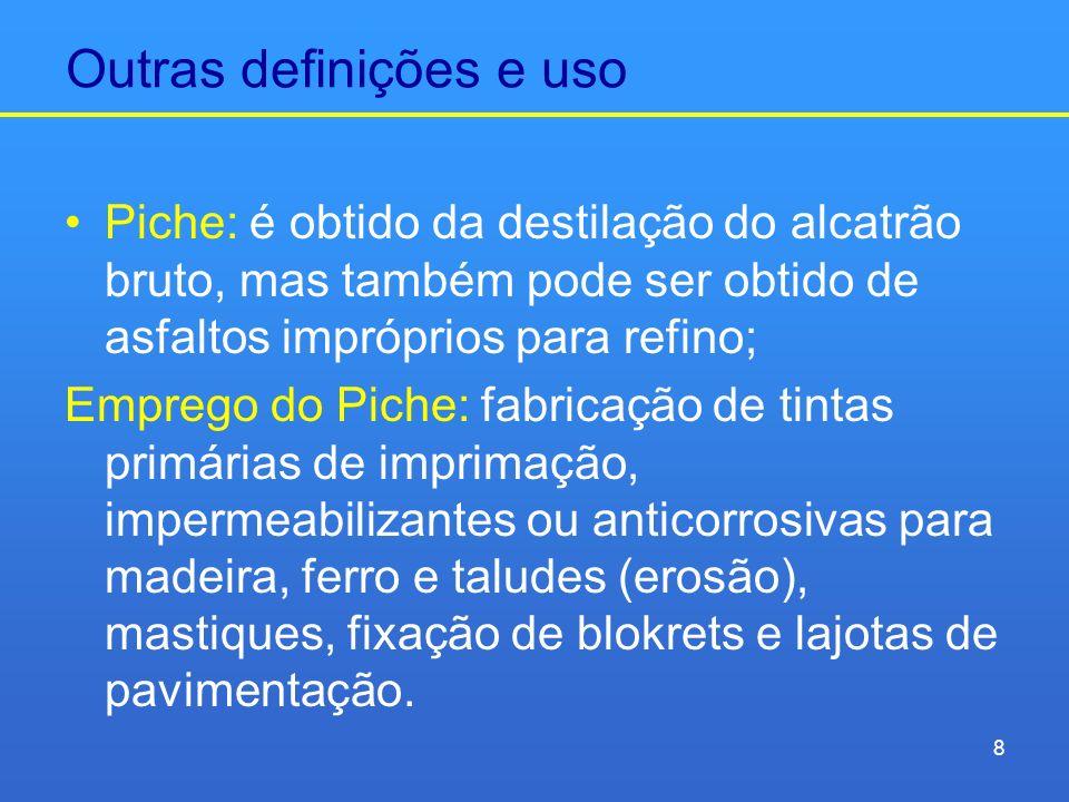 Outras definições e uso Piche: é obtido da destilação do alcatrão bruto, mas também pode ser obtido de asfaltos impróprios para refino; Emprego do Pic