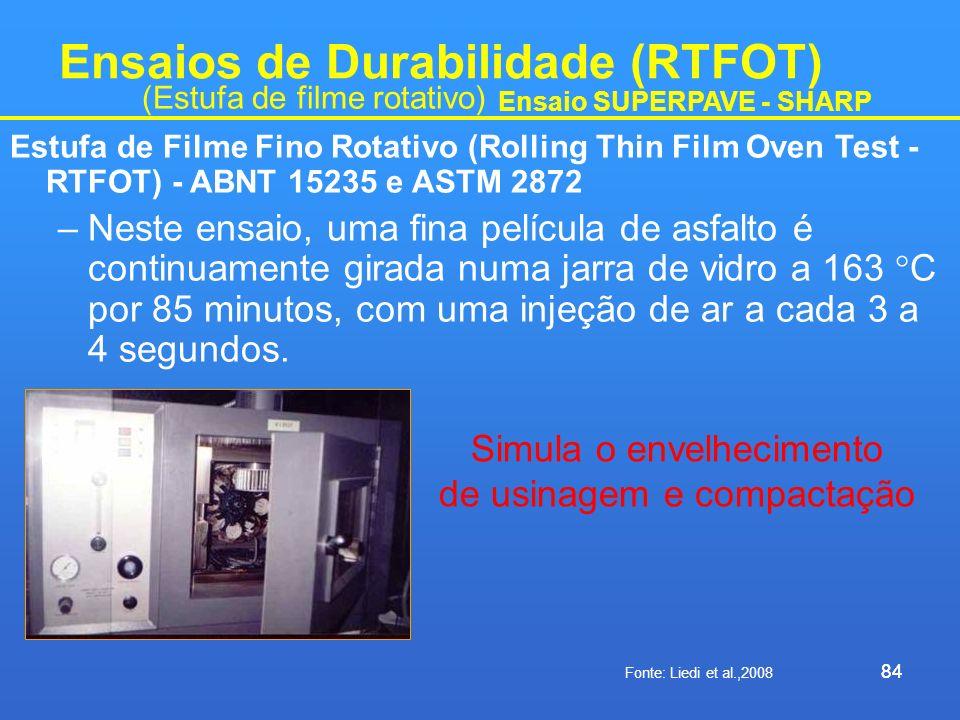 84 Ensaios de Durabilidade (RTFOT) Estufa de Filme Fino Rotativo (Rolling Thin Film Oven Test - RTFOT) - ABNT 15235 e ASTM 2872 –Neste ensaio, uma fin