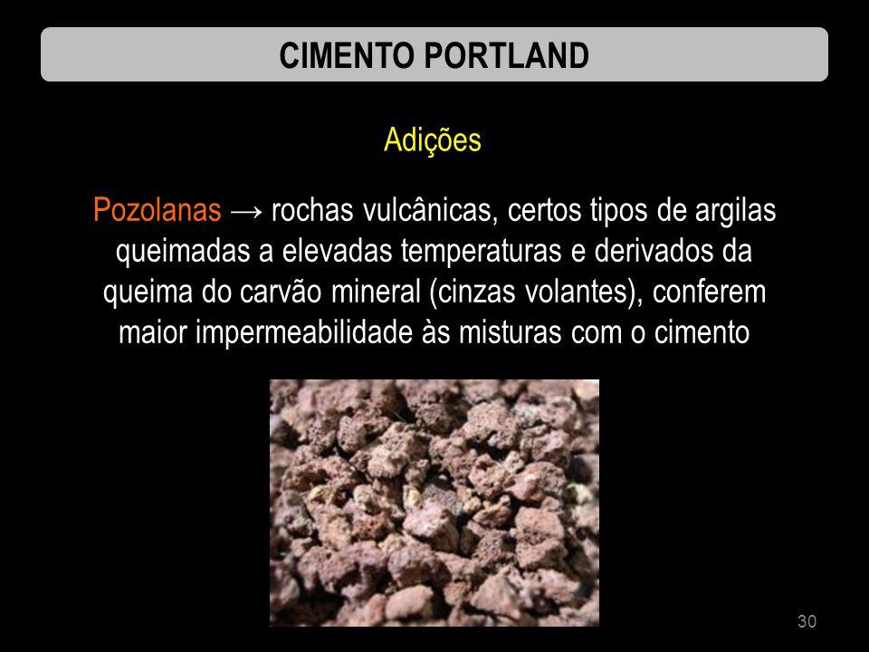 30 CIMENTO PORTLAND Adições Pozolanas rochas vulcânicas, certos tipos de argilas queimadas a elevadas temperaturas e derivados da queima do carvão min