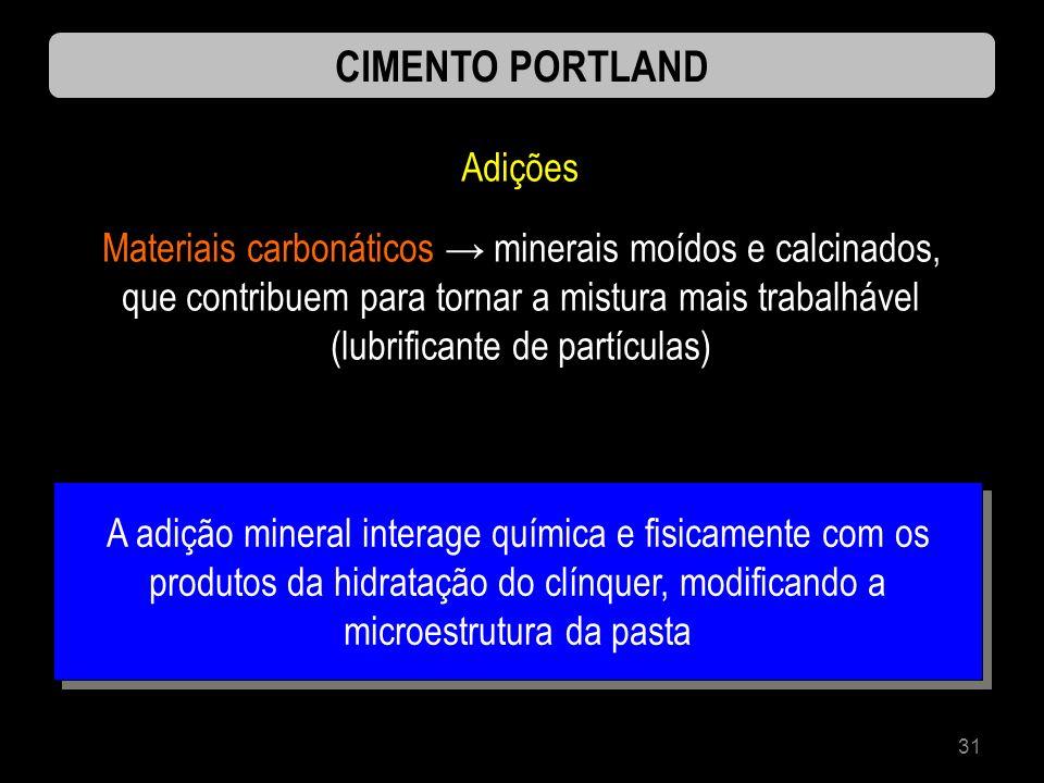 31 CIMENTO PORTLAND Adições Materiais carbonáticos minerais moídos e calcinados, que contribuem para tornar a mistura mais trabalhável (lubrificante d