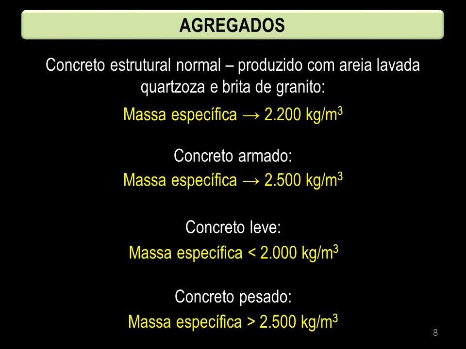 8 AGREGADOS Concreto estrutural normal – produzido com areia lavada quartzoza e brita de granito: Massa específica 2.200 kg/m 3 Concreto armado: Massa