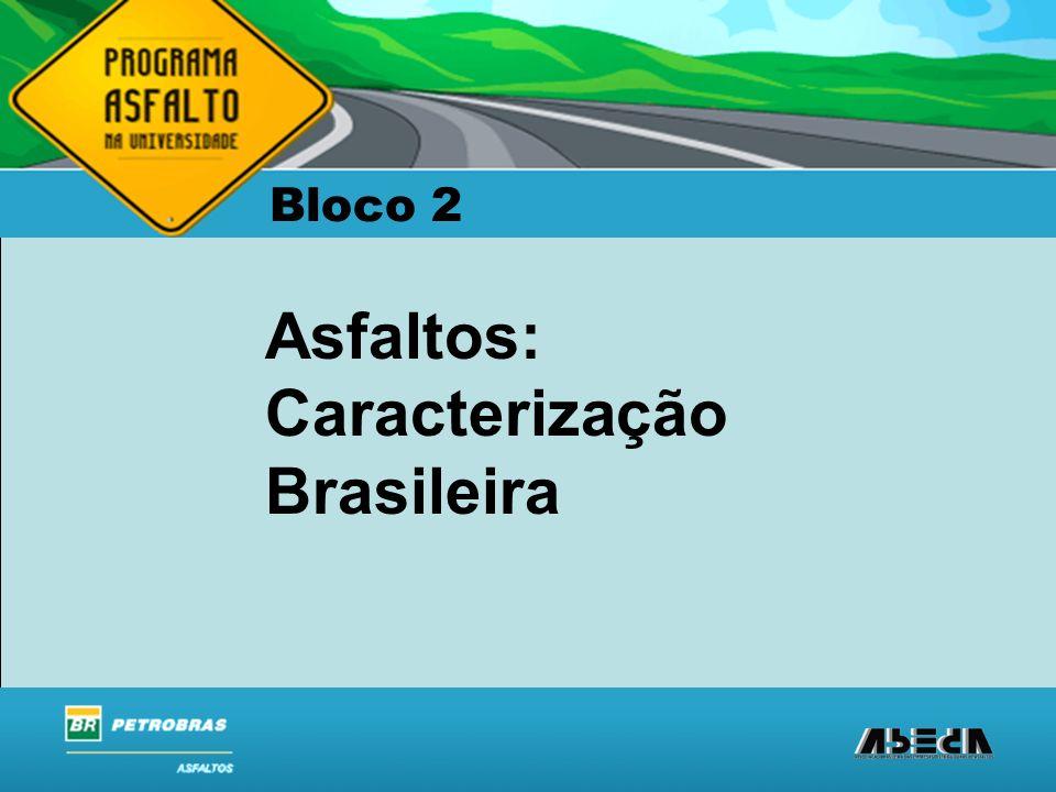 ASFALTOS Associação Brasileira das Empresas Distribuidoras de Asfaltos Asfaltos: Caracterização Brasileira Bloco 2