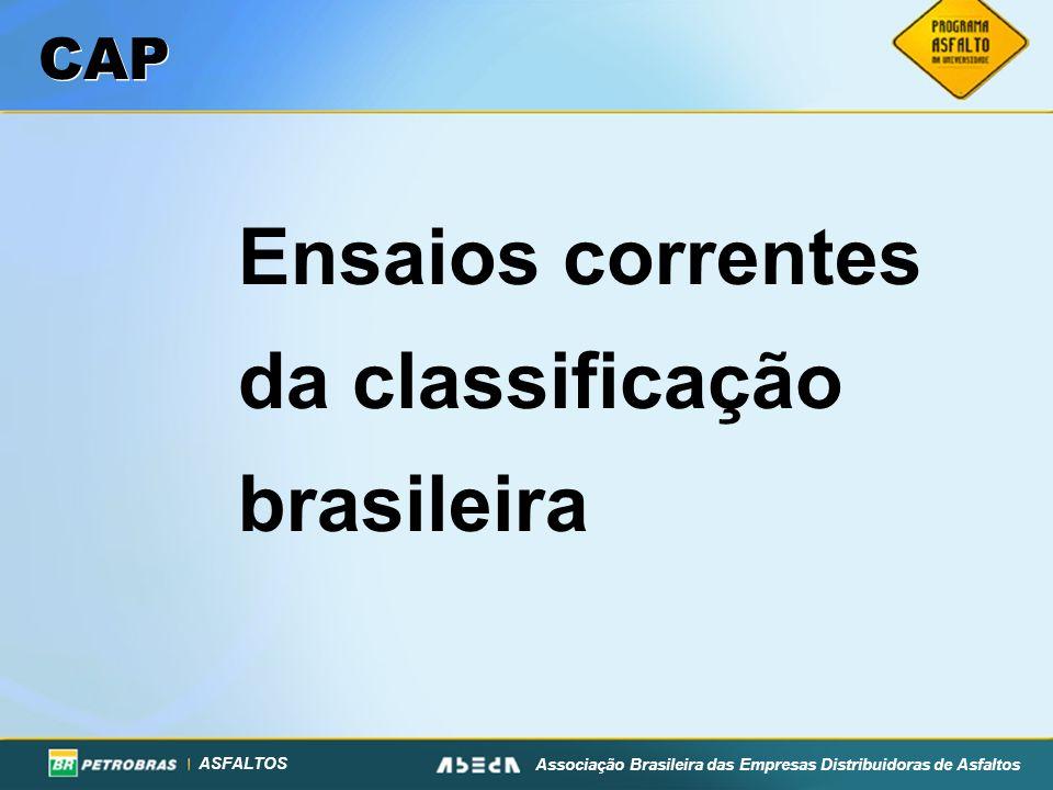 ASFALTOS Associação Brasileira das Empresas Distribuidoras de Asfaltos CAP Ensaios correntes da classificação brasileira