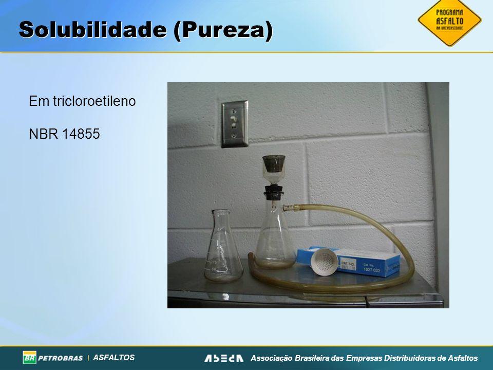 ASFALTOS Associação Brasileira das Empresas Distribuidoras de Asfaltos Solubilidade (Pureza) Em tricloroetileno NBR 14855