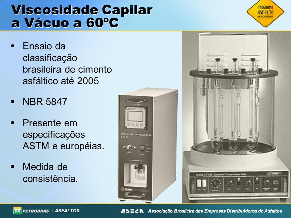 ASFALTOS Associação Brasileira das Empresas Distribuidoras de Asfaltos Viscosidade Capilar a Vácuo a 60ºC Ensaio da classificação brasileira de ciment
