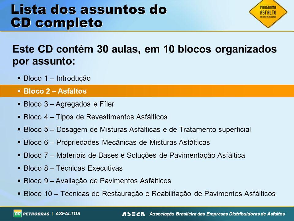 ASFALTOS Associação Brasileira das Empresas Distribuidoras de Asfaltos Este CD contém 30 aulas, em 10 blocos organizados por assunto: Lista dos assunt
