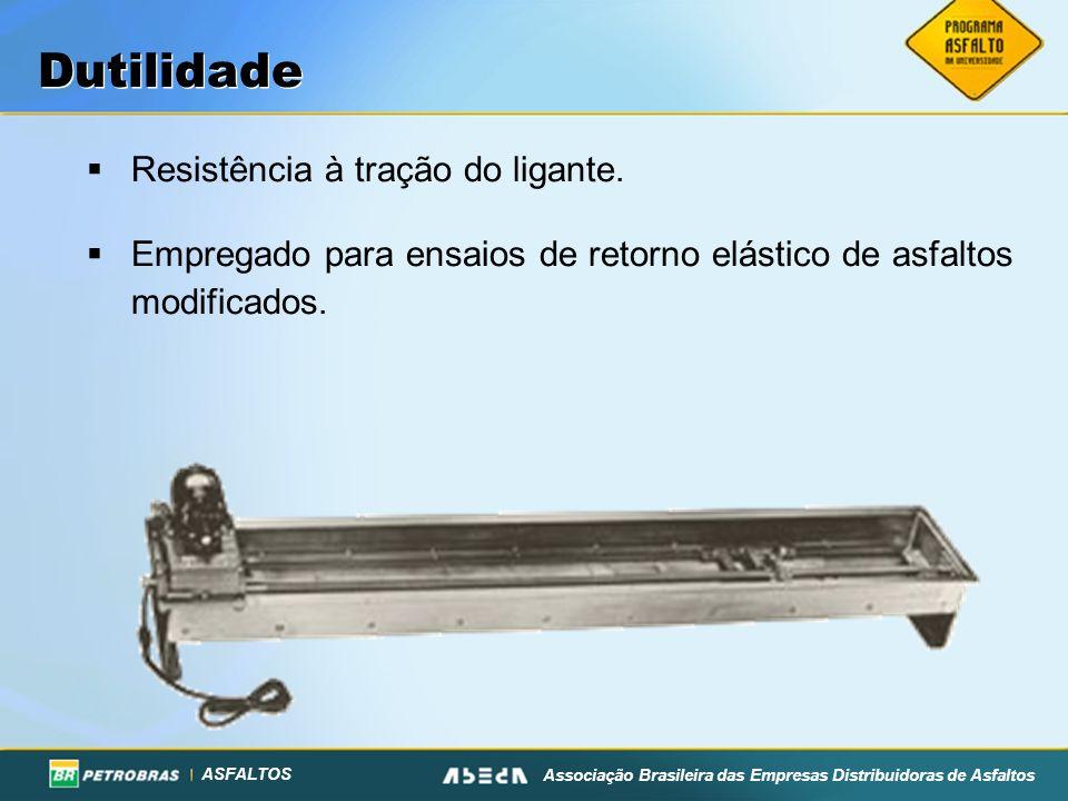 ASFALTOS Associação Brasileira das Empresas Distribuidoras de Asfaltos Dutilidade Resistência à tração do ligante. Empregado para ensaios de retorno e